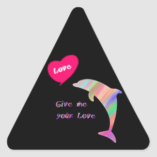 Give me your love_dolphin triangle sticker