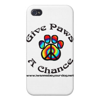Give Paws a Chance Peace Symbol Cover For iPhone 4