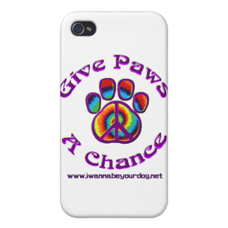 Give Paws A Chance purple peace Cases For iPhone 4