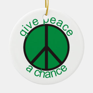 Give peace a chance Double-Sided ceramic round christmas ornament