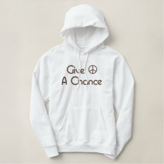 Give Peace A Chance Embroidered Pullover Hoodie