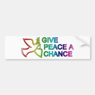 Give Peace a Chance (Rainbow) Car Bumper Sticker