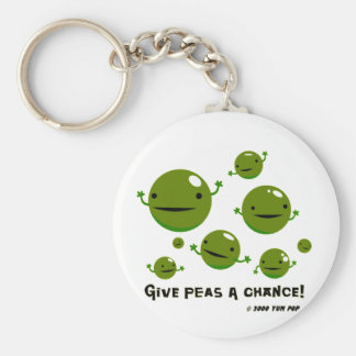 Give Peas a Chance Basic Round Button Key Ring
