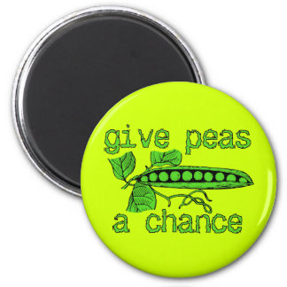 Give Peas A Chance Funny Peace Magnet Humor