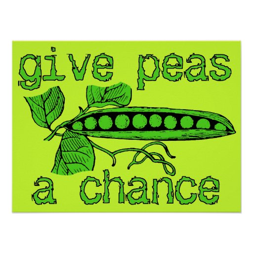 Give Peas A Chance Funny Peace Print Poster Humor