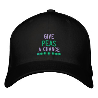 GIVE PEAS A CHANCE - HAT EMBROIDERED BASEBALL CAPS