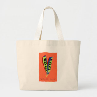 give peas a chance-orange large tote bag