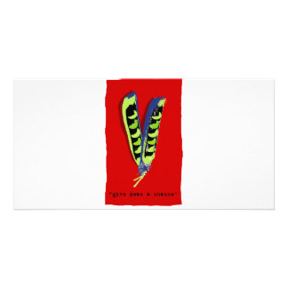 give peas a chance-red customised photo card
