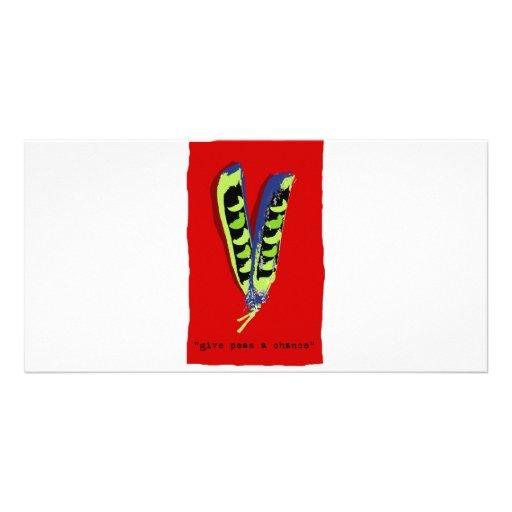 give peas a chance-red custom photo card