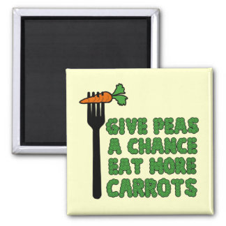 Give peas a chance square magnet