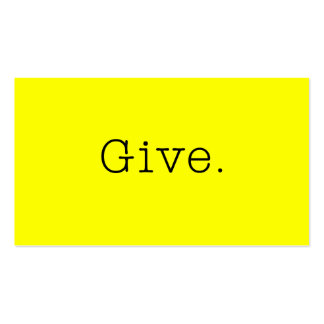 Give. Pure Neon Lemon Yellow And Black Give Quote Pack Of Standard Business Cards