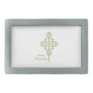 GIVE THANKS RECTANGULAR BELT BUCKLE