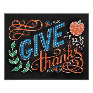 Give thanks coloured hand lettering quote poster