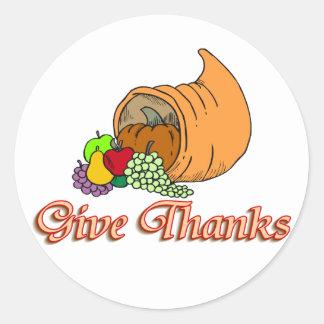 Give Thanks Cornucopia Classic Round Sticker