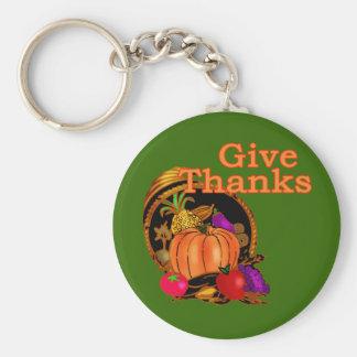 Give Thanks Cornucopia for Thanksgiving Key Chains