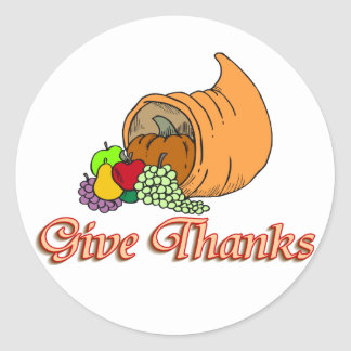 Give Thanks Cornucopia Round Sticker