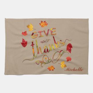 Give Thanks Fall Rustic Thanksgiving Monogram Tea Towel