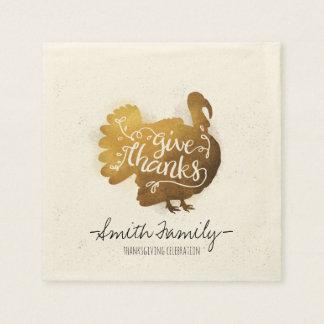 Give Thanks. Family Thanksgiving Celebration. Disposable Napkin