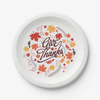 Give Thanks. Family Thanksgiving Celebration. Paper Plate