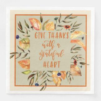 Give Thanks Floral, Thanksgiving Wreath Napkins Disposable Serviette
