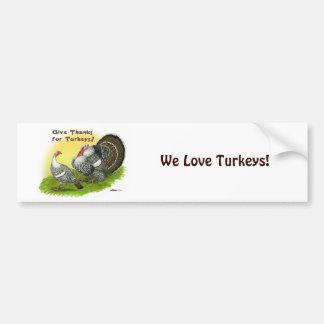 Give Thanks For Turkeys! Bumper Sticker
