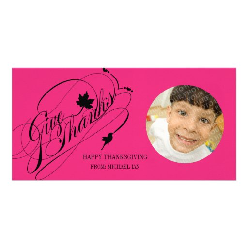 Give Thanks Greetings Personalized Photo Card