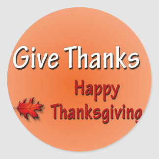 Give Thanks Happy Thanksgiving Round Sticker