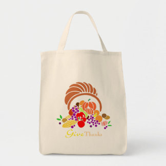 Give Thanks - Horn of Plenty Grocery Tote Bag