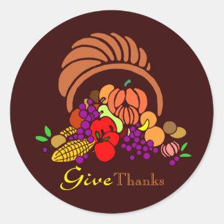 Give Thanks - Horn of Plenty Round Sticker