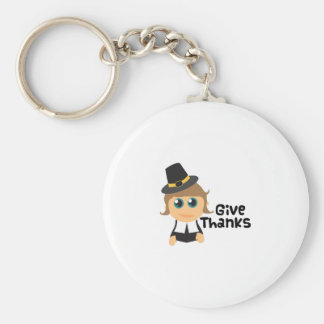 Give Thanks Basic Round Button Key Ring