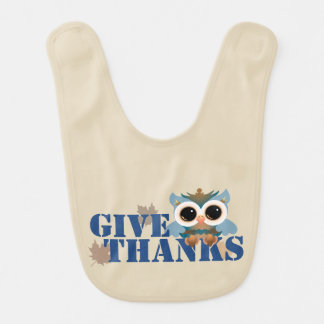 Give Thanks Owl Bib