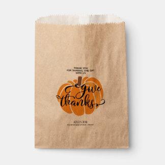 Give Thanks Pumpkin Favour Bags