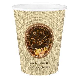 GIVE THANKS-Rustic Burlap, Autumn Floral Wreath Paper Cup