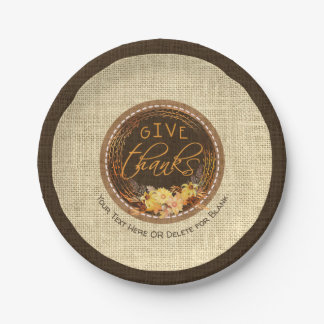GIVE THANKS-Rustic Burlap, Autumn Floral Wreath Paper Plate