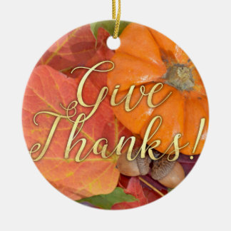 Give Thanks Script Typography Autumn Thanksgiving Christmas Ornament