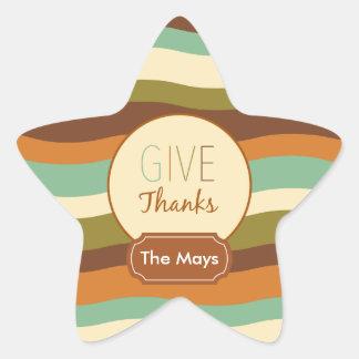 Give Thanks Star Sticker