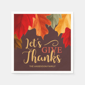 GIVE THANKS THANKSGIVING BRIGHT WATERCOLOR LEAVES DISPOSABLE NAPKINS