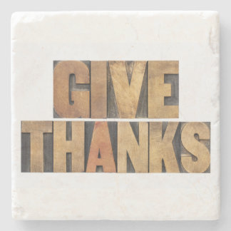 Give Thanks - Thanksgiving Concept - Isolated Stone Coaster