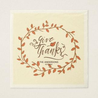 Give Thanks. Thanksgiving Family Celebration. Disposable Napkin