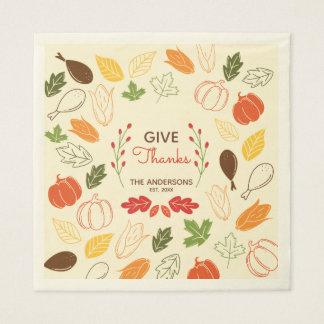Give Thanks. Thanksgiving Family Celebration. Disposable Napkins