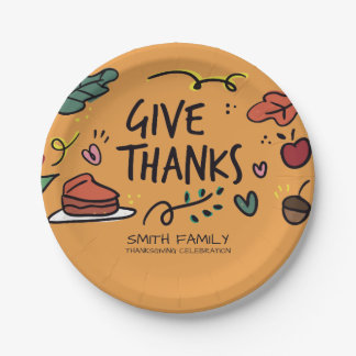 Give Thanks. Thanksgiving Family Celebration. Paper Plate