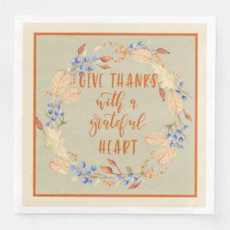 Give Thanks, Thanksgiving Wreath Napkins Disposable Serviettes