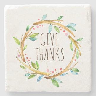 Give Thanks Thanksgiving Wreath Stone Coaster