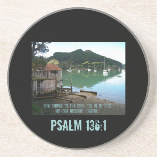 Give Thanks to The Lord - Psalm 136:1 Beverage Coaster