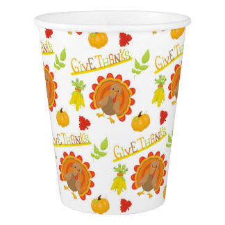 Give Thanks Turkey Paper Cup