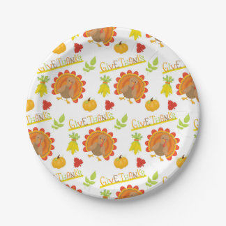 Give Thanks Turkey Paper Plate