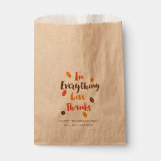 Give Thanks Typographic Autumn Leaves Favor Bags