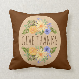 Give Thanks Watercolor Autumn Floral Thanksgiving Cushion
