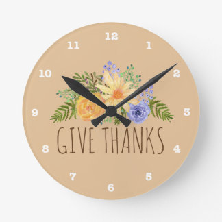 Give Thanks Watercolor Autumn Floral Thanksgiving Round Clock
