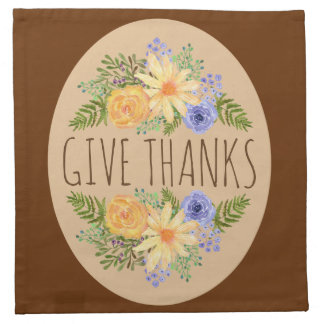 Give Thanks Watercolor Fall Floral Thanksgiving Napkin